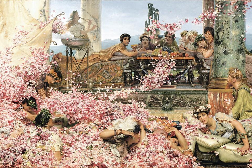 На картине художника Альма-Тадема запечатлена легенда: якобы однажды во время пира римский император Гелиогабал приказал сыпать с потолка розы в таком количестве, что его недруги, приглашенные на угощение, задохнулись. История эта вызывает сомнения, но вот то, что римляне употребляли растертые лепестки роз в пищу, - чистая правда. Фото: Studio SEBERT/Wikimedia Commons